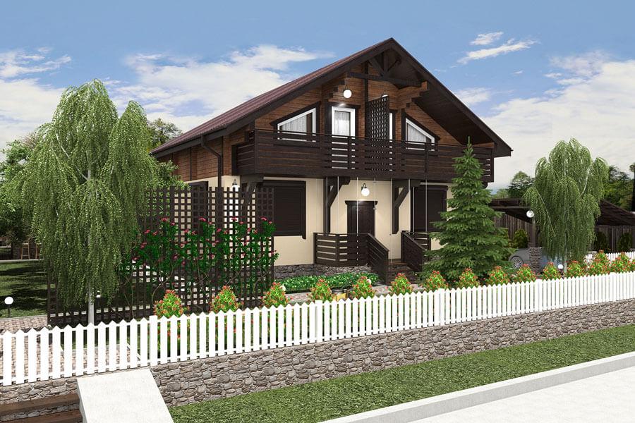 планировка участка и дизайн дома в стиле шале