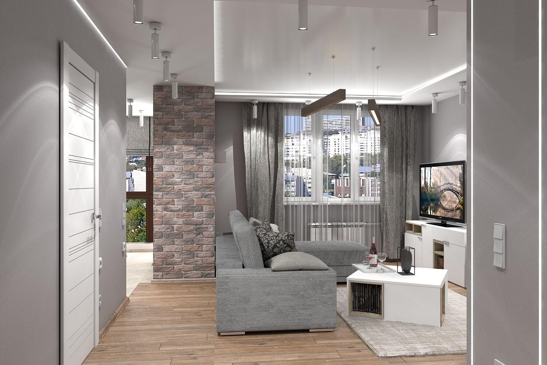 Дизайн интерьера трехкомнатной квартиры 75 кв.м.