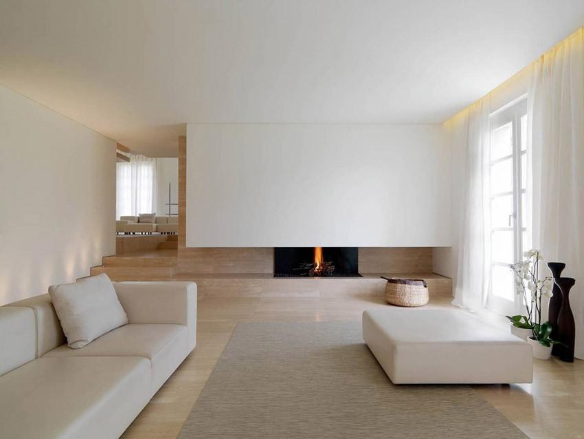 Гостиная загородного дома в стиле минимализм