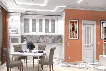 Дизайн проект интерьера однокомнатной квартиры в неоклассическом стиле